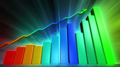 Financial success animation with rising bar and line charts Stock Footage