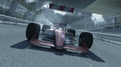 Winning formula one racing car 3d animation on a rainy day Stock Footage