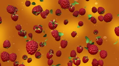 Red raspberries falling in slow motion Stock Footage
