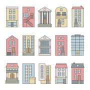 Flat thin line color vector city buildings set. Isolated on white background. Stock Illustration