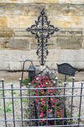 Graves at the church wall - in German style - stock photo