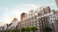 Stock Market Data Around Office Buildings Stock Footage