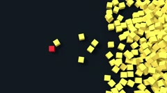 3D yellow cubes fall on the floor with one unique red cube Stock Footage
