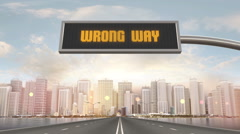 Wrong Way Traffic Sign Stock Footage