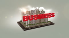 Business Text On Digital Tablet Stock Footage