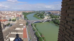 View on Zaragoza from tower Stock Footage
