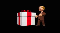 Cute 3d senior character showing present + Alpha Stock Footage