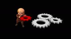 3D business man character pushing gear to fix the problem Stock Footage