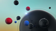 Rotating 3D Spheres On Colorful Background With Lens Flare Stock Footage