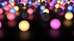 Glowing Colorful Balls Moving Slowly On The Reflective Floor Stock Footage