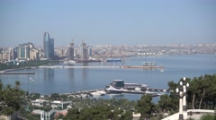 Skyscrapers at the shore of the bay of Caspian Sea in Baku. Stock Footage