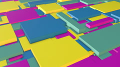 Multi Colored Floating Rectangle Blocks Spinning Stock Footage