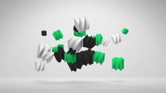 Flying 3D Distorted Cube Shapes Moving To The Off Screen Stock Footage