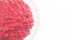 Abstract Red Geometric Polygon Shape With Particle Effects Stock Footage