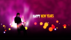 Happy New Year Animation With Dancing Female Silhouette Stock Footage