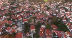 With drone flight above the old town of Xanthi in northern Greece Stock Footage