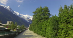 The Arve River as it passes through the city of Chamonix Stock Footage