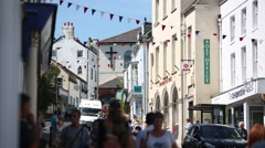 Lyme Regis town centre and post office Stock Footage