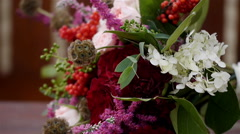 Wedding bouquet of fresh flowers. Stock Footage