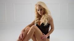 Sensual woman wearing sexy underwear Stock Footage