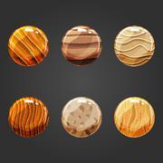 Set of round volume sand buttons Stock Illustration