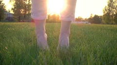 Barefoot Woman Jumping In Slow Motion On Sunset Stock Footage