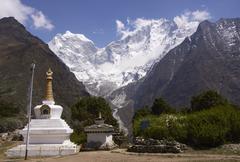 Buddhist Stupa at Tengboche - stock photo