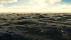 Green Foggy Wavy Ocean Scene With Clouds Stock Footage