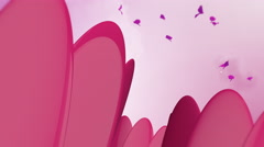 3D Abstract Flowers With Butterflies Stock Footage