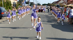 Parade of small cheerleading Stock Footage
