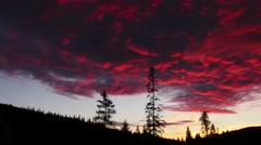 Time lapse of a northern forest under a blood red sky Stock Footage