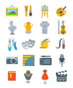 Art and crafts flat vector icons set Stock Illustration