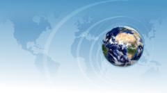 Broadcast orbiting globe opening title animation. Stock Footage