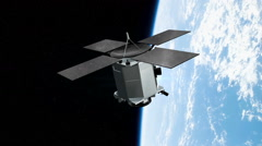 Communications satellite orbiting earth Stock Footage