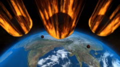 Meteor Strike Over Earth Stock Footage