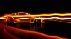 Drifting cg supercar wireframe animation Stock Footage