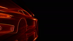 Close up cg wireframe supercar animation with shiny lights Stock Footage