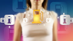 Young female pressing the screen then fuel dispenser symbol appearing Stock Footage