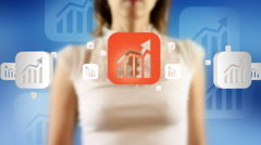 Young female pressing the screen then graph chart symbol appearing Stock Footage