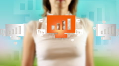 Young female pressing the screen then bar chart symbol appearing Stock Footage