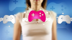 Young female pressing the screen then gamepad symbol appearing Stock Footage