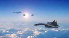 Fighter Planes Attacking - CG Stock Footage