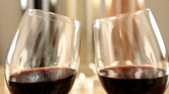 Toasting Wine Glasses Romantic Ambient. Stock Footage