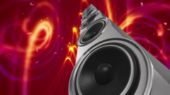 Chrome Speaker With Musical Notes - Loop Stock Footage