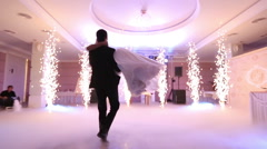 Romantic first dance by charming wedding couple in luxury restaurant Stock Footage