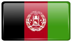 Flags of Afghanistan in the form of a magnet on refrigerator with reflections Stock Illustration