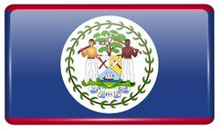 Flags of Belize in the form of a magnet on refrigerator with reflections ligh Stock Illustration
