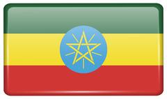 Flags of Ethiopia in the form of a magnet on refrigerator with reflections li Stock Illustration
