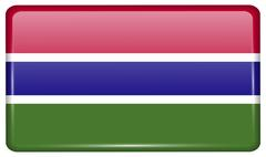 Flags of Gambia in the form of a magnet on refrigerator with reflections ligh Stock Illustration