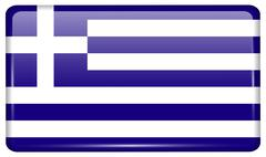 Flags of Greece in the form of a magnet on refrigerator with reflections ligh Stock Illustration